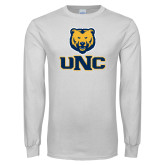 White Long Sleeve T Shirt-Interlocked UNC and Bear