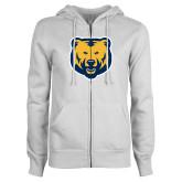 ENZA Ladies White Fleece Full Zip Hoodie-UNC Bear Logo