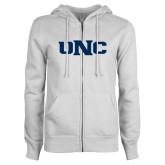 ENZA Ladies White Fleece Full Zip Hoodie-UNC