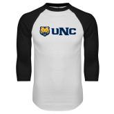 White/Black Raglan Baseball T Shirt-UNC Bears