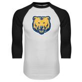 White/Black Raglan Baseball T Shirt-Bear Mascot Distressed
