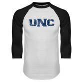 White/Black Raglan Baseball T Shirt-UNC Distressed