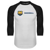 White/Black Raglan Baseball T Shirt-Baseball