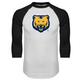White/Black Raglan Baseball T Shirt-UNC Bear Logo