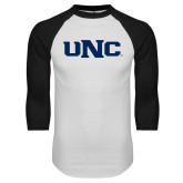 White/Black Raglan Baseball T Shirt-UNC
