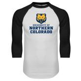White/Black Raglan Baseball T Shirt-Northern Colorado Stacked Logo