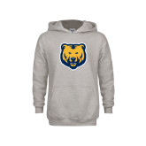 Youth Grey Fleece Hood-UNC Bear Logo