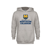 Youth Grey Fleece Hood-Northern Colorado Stacked Logo