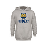 Youth Grey Fleece Hood-UNC Bear Stacked