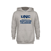 Youth Grey Fleece Hood-UNC Collegiate Stacked