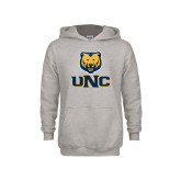 Youth Grey Fleece Hood-Interlocked UNC and Bear