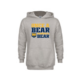 Youth Grey Fleece Hood-Once a Bear Always a Bear