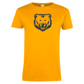 Ladies Gold T Shirt-Bear Mascot Distressed