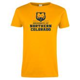Ladies Gold T Shirt-Northern Colorado Stacked Logo