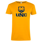 Ladies Gold T Shirt-UNC Bear Stacked