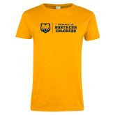 Ladies Gold T Shirt-University of Northern Colorado Horizontal