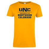Ladies Gold T Shirt-UNC Collegiate Stacked