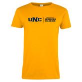 Ladies Gold T Shirt-UNC Collegiate Horizontal
