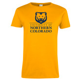 Ladies Gold T Shirt-University of Northern Colorado Academic Stacked