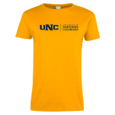 Ladies Gold T Shirt-UNC Academic Block Horizontal