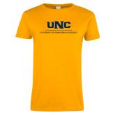 Ladies Gold T Shirt-UNC Academic Block Verticle