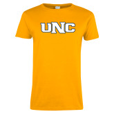 Ladies Gold T Shirt-UNC Stroked Logo