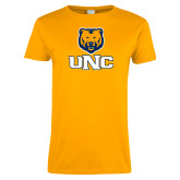 Ladies Gold T Shirt-Interlocked UNC and Bear