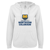 ENZA Ladies White V Notch Raw Edge Fleece Hoodie-Northern Colorado Stacked Logo