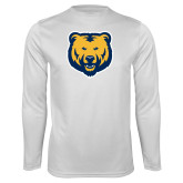 Performance White Longsleeve Shirt-UNC Bear Logo