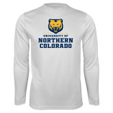 Performance White Longsleeve Shirt-Northern Colorado Stacked Logo