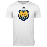 Adidas Climalite White Ultimate Performance Tee-UNC Bear Logo
