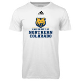 Adidas Climalite White Ultimate Performance Tee-Northern Colorado Stacked Logo