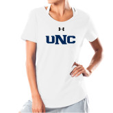 Ladies Under Armour White Charged Cotton Tee-UNC