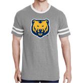 Grey Heather/White Tri Blend Varsity Tee-UNC Bear Logo