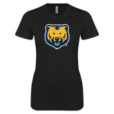 Next Level Ladies SoftStyle Junior Fitted Black Tee-UNC Bear Logo