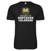 Next Level SoftStyle Black T Shirt-Northern Colorado Stacked Logo