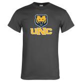 Charcoal T Shirt-Interlocked UNC and Bear