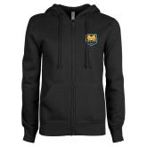 ENZA Ladies Black Fleece Full Zip Hoodie-UNC Bear Logo
