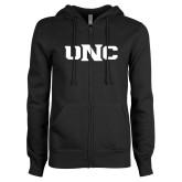 ENZA Ladies Black Fleece Full Zip Hoodie-UNC