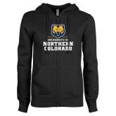 ENZA Ladies Black Fleece Full Zip Hoodie-Northern Colorado Stacked Logo