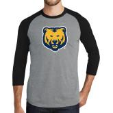 Grey/Black Tri Blend Baseball Raglan-UNC Bear Logo