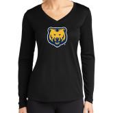 Ladies Syntrel Performance Black Longsleeve Shirt-UNC Bear Logo