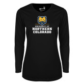 Ladies Syntrel Performance Black Longsleeve Shirt-Northern Colorado Stacked Logo