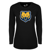 Ladies Syntrel Performance Black Longsleeve Shirt-UNC Bear Logo