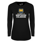 Ladies Syntrel Performance Black Longsleeve Shirt-Northern Colorado Stacked Logo