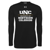 Under Armour Black Long Sleeve Tech Tee-UNC Collegiate Stacked