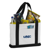 Contender White/Black Canvas Tote-UNC