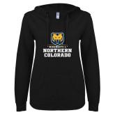 ENZA Ladies Black V Notch Raw Edge Fleece Hoodie-Northern Colorado Stacked Logo