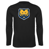 Performance Black Longsleeve Shirt-UNC Bear Logo