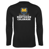 Performance Black Longsleeve Shirt-Northern Colorado Stacked Logo